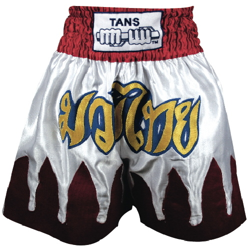 Thai Shorts Satin White with Red Flames-0