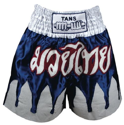 Thai Shorts Satin Blue with White Flames-0
