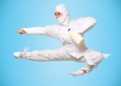 Tans Martial Arts White Ninja As Featured in Fruit Box Group
